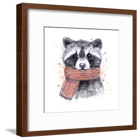 Cute Raccoon with Scarf , Sketchy Style. Autumn Cozy Illustrations with Warm Colors. Perfectly for-Maria Sem-Framed Art Print