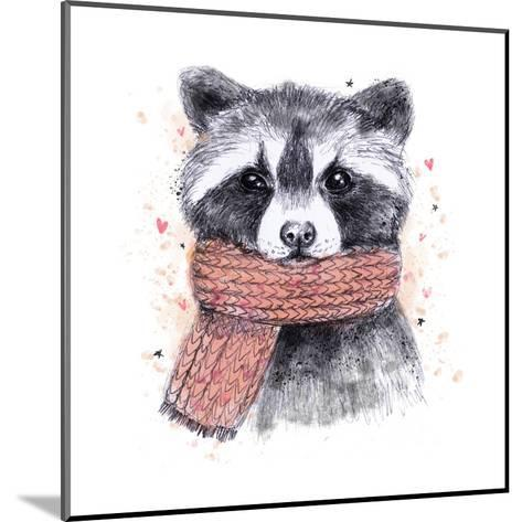 Cute Raccoon with Scarf , Sketchy Style. Autumn Cozy Illustrations with Warm Colors. Perfectly for-Maria Sem-Mounted Art Print