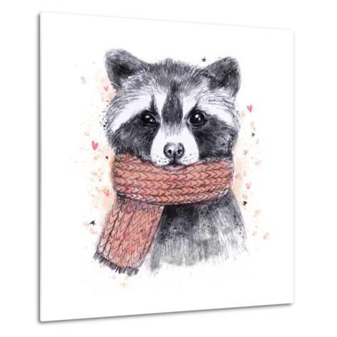 Cute Raccoon with Scarf , Sketchy Style. Autumn Cozy Illustrations with Warm Colors. Perfectly for-Maria Sem-Metal Print