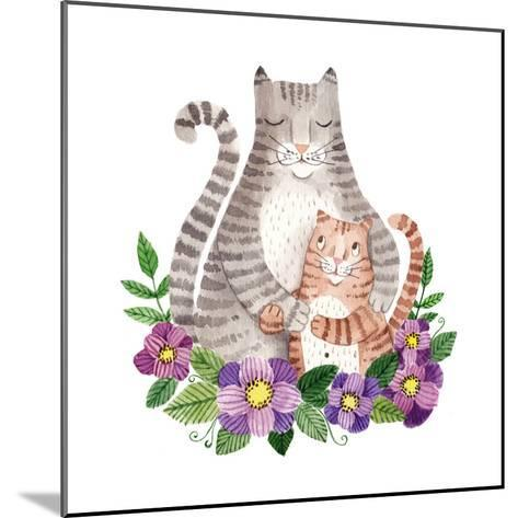 Cute Mother's Day Greeting Card with Cats. Watercolor Illustration-Maria Sem-Mounted Premium Giclee Print