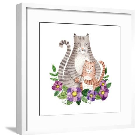 Cute Mother's Day Greeting Card with Cats. Watercolor Illustration-Maria Sem-Framed Art Print