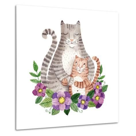 Cute Mother's Day Greeting Card with Cats. Watercolor Illustration-Maria Sem-Metal Print