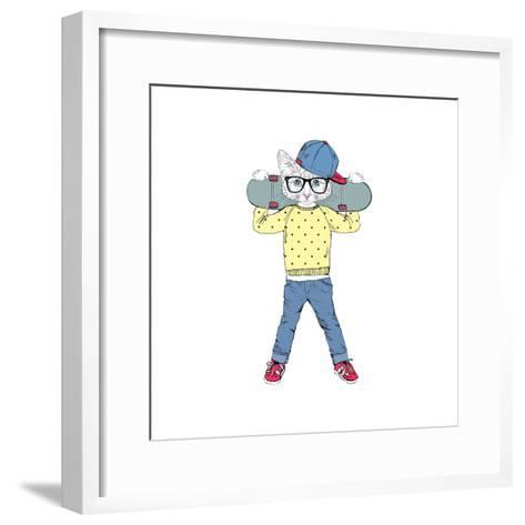 Kitten Boy with Skateboard-Olga_Angelloz-Framed Art Print