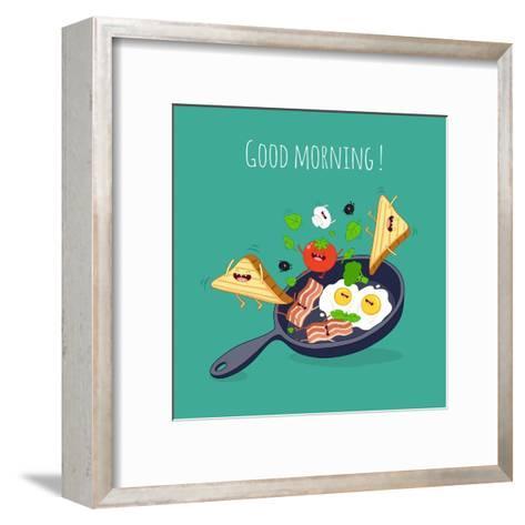 Breakfast Poster. Fried Eggs with Bacon on a Blue Pan. Vector Illustration- Serbinka-Framed Art Print