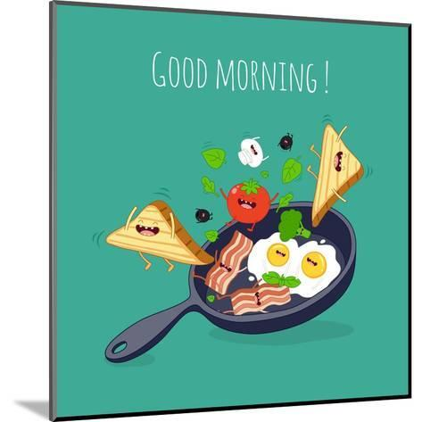 Breakfast Poster. Fried Eggs with Bacon on a Blue Pan. Vector Illustration- Serbinka-Mounted Art Print