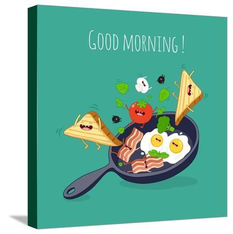 Breakfast Poster. Fried Eggs with Bacon on a Blue Pan. Vector Illustration- Serbinka-Stretched Canvas Print