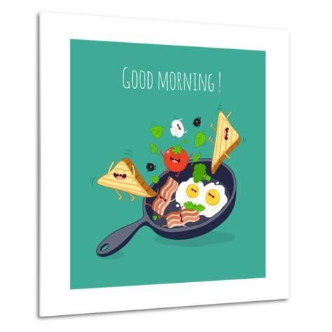 Breakfast Poster. Fried Eggs with Bacon on a Blue Pan. Vector Illustration- Serbinka-Metal Print