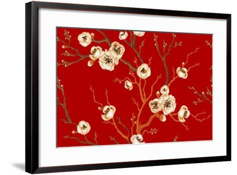 Sakura Branch on Red Background. Vector Seamless Pattern. Floral Design Oriental Style. Vintage. Bl-mamita-Framed Art Print