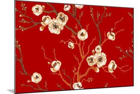 Sakura Branch on Red Background. Vector Seamless Pattern. Floral Design Oriental Style. Vintage. Bl-mamita-Mounted Art Print