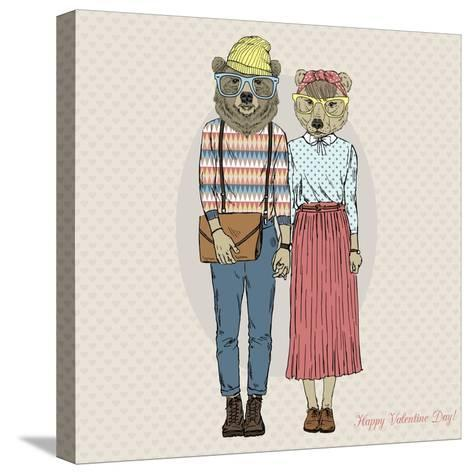 Hipster Couple of Bears - Valentine's Day Design-Olga_Angelloz-Stretched Canvas Print