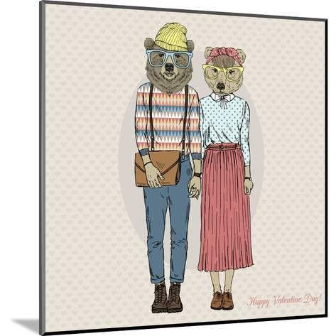 Hipster Couple of Bears - Valentine's Day Design-Olga_Angelloz-Mounted Art Print