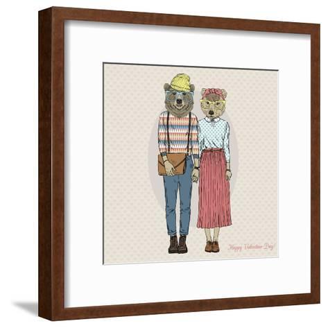 Hipster Couple of Bears - Valentine's Day Design-Olga_Angelloz-Framed Art Print
