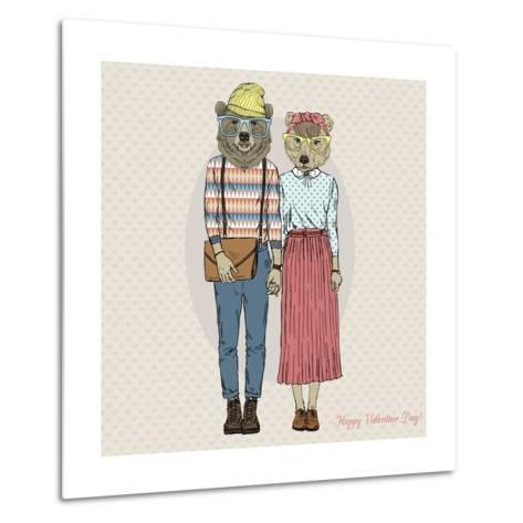 Hipster Couple of Bears - Valentine's Day Design-Olga_Angelloz-Metal Print