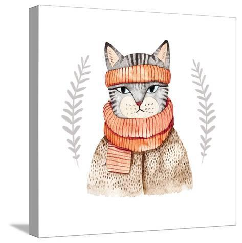 Cute Cat in Scarf .Illustration with Domestic Animal.Watercolor Hand Drawn Illustration for Kids.Cu-Maria Sem-Stretched Canvas Print