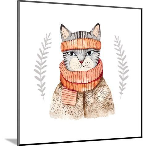 Cute Cat in Scarf .Illustration with Domestic Animal.Watercolor Hand Drawn Illustration for Kids.Cu-Maria Sem-Mounted Art Print