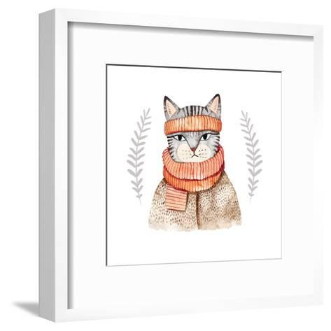 Cute Cat in Scarf .Illustration with Domestic Animal.Watercolor Hand Drawn Illustration for Kids.Cu-Maria Sem-Framed Art Print