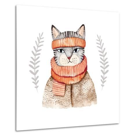 Cute Cat in Scarf .Illustration with Domestic Animal.Watercolor Hand Drawn Illustration for Kids.Cu-Maria Sem-Metal Print