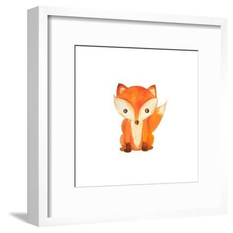 Cute Cartoon Watercolor Forest Animal. Hand Painted Lovely Baby Fox Illustration Perfect for Print-Zabrotskaya Larysa-Framed Art Print