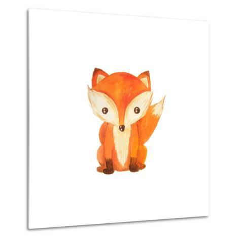 Cute Cartoon Watercolor Forest Animal. Hand Painted Lovely Baby Fox Illustration Perfect for Print-Zabrotskaya Larysa-Metal Print