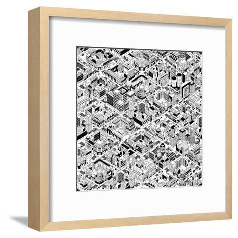 City Urban Blocks Seamless Pattern (Large) in Isometric Projection is Hand Drawing with Perimeter B-vook-Framed Art Print