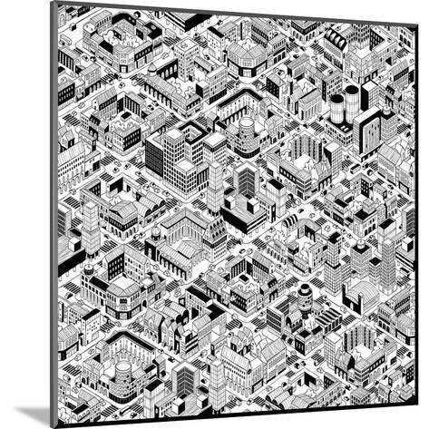 City Urban Blocks Seamless Pattern (Large) in Isometric Projection is Hand Drawing with Perimeter B-vook-Mounted Art Print
