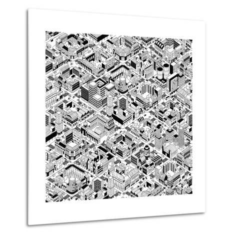 City Urban Blocks Seamless Pattern (Large) in Isometric Projection is Hand Drawing with Perimeter B-vook-Metal Print
