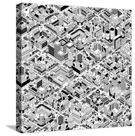 City Urban Blocks Seamless Pattern (Large) in Isometric Projection is Hand Drawing with Perimeter B-vook-Stretched Canvas Print