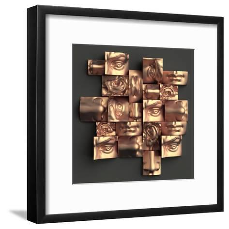 3D Render, Digital Illustration, Abstract Copper Metallic Blocks, Eyes, Ear, Nose, Lips, Mouth, Ana-wacomka-Framed Art Print