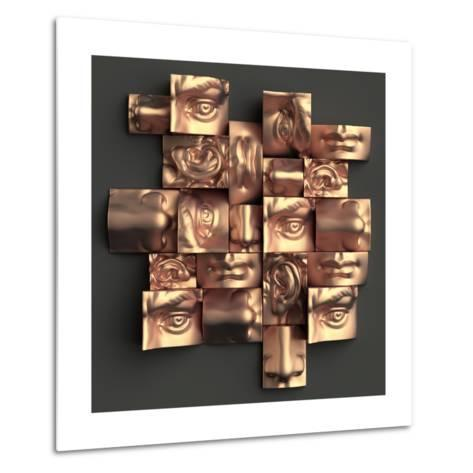 3D Render, Digital Illustration, Abstract Copper Metallic Blocks, Eyes, Ear, Nose, Lips, Mouth, Ana-wacomka-Metal Print