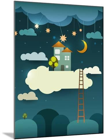 Abstract Paper Cut-Fantasy Home Sweet Home -Moon with Stars-Cloud and Sky at Night .Blank Cloud For-pluie_r-Mounted Art Print