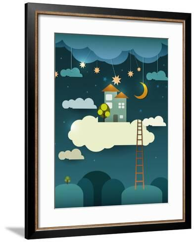 Abstract Paper Cut-Fantasy Home Sweet Home -Moon with Stars-Cloud and Sky at Night .Blank Cloud For-pluie_r-Framed Art Print
