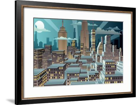 Cityscape at Night. Basic (Linear) Gradients Used. No Transparency.-Malchev-Framed Art Print