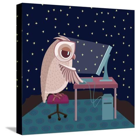 Vector Illustration. Owl Working on the Computer at Night- Satika-Stretched Canvas Print