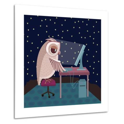 Vector Illustration. Owl Working on the Computer at Night- Satika-Metal Print