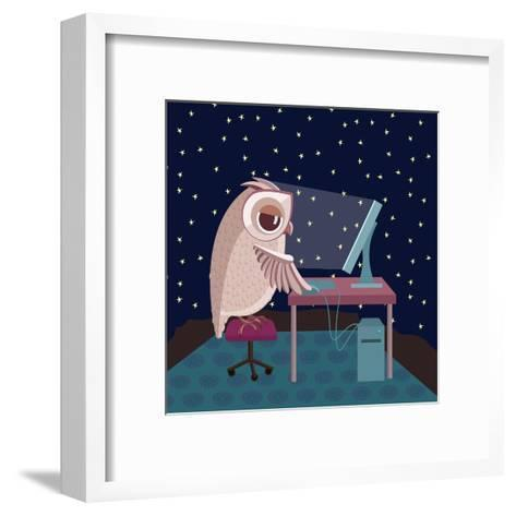 Vector Illustration. Owl Working on the Computer at Night- Satika-Framed Art Print