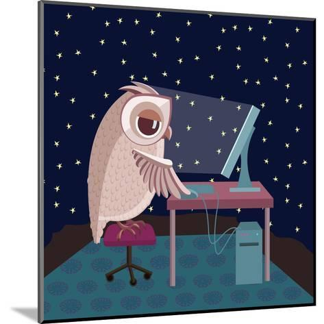 Vector Illustration. Owl Working on the Computer at Night- Satika-Mounted Art Print