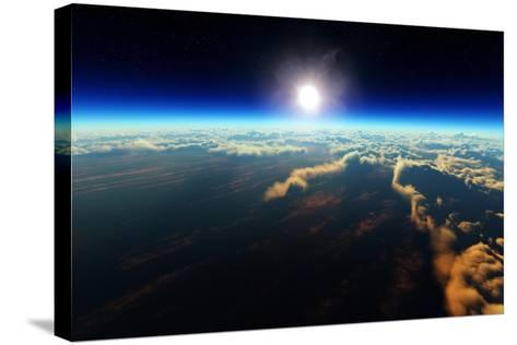 Planet Earth Sunrise over Cloudy Ocean from Outer Space (3D Artwork)-Johan Swanepoel-Stretched Canvas Print