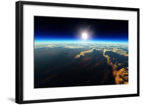 Planet Earth Sunrise over Cloudy Ocean from Outer Space (3D Artwork)-Johan Swanepoel-Framed Art Print