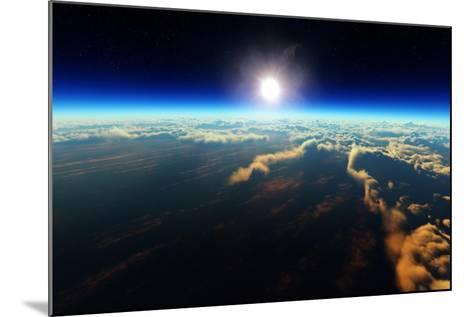 Planet Earth Sunrise over Cloudy Ocean from Outer Space (3D Artwork)-Johan Swanepoel-Mounted Art Print