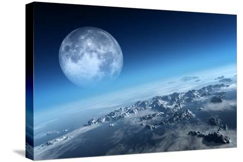 Planet Earth Icy Ocean and Rocky Islands with Moon Seen from Space (Texture Moonmap for 3D Art From-Johan Swanepoel-Stretched Canvas Print
