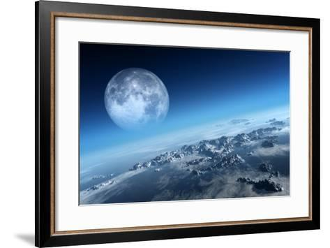 Planet Earth Icy Ocean and Rocky Islands with Moon Seen from Space (Texture Moonmap for 3D Art From-Johan Swanepoel-Framed Art Print