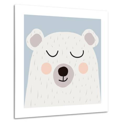 Illustration of Cute Bear-Guaxinim-Metal Print