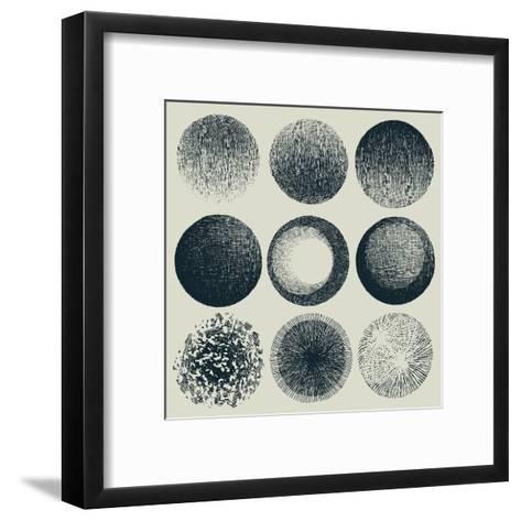 Grunge Halftone Drawing Textures Set. Vector Illustration-jumpingsack-Framed Art Print