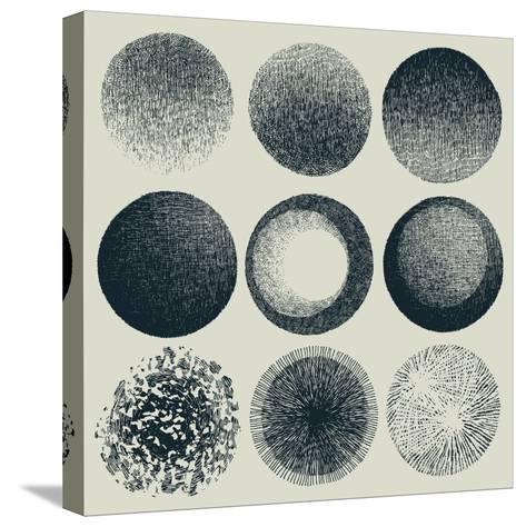 Grunge Halftone Drawing Textures Set. Vector Illustration-jumpingsack-Stretched Canvas Print