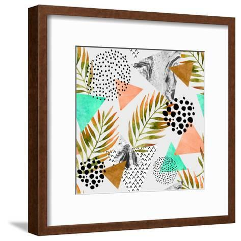 Abstract Summer Geometric Seamless Pattern. Triangles with Palm Leaf and Marble Grunge Textures. Ab-Syrytsyna Tetiana-Framed Art Print
