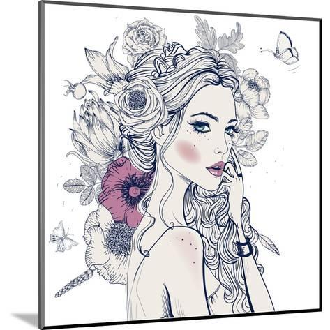 Portrait of Young Beautiful Woman with Flowers-Elena Barenbaum-Mounted Art Print