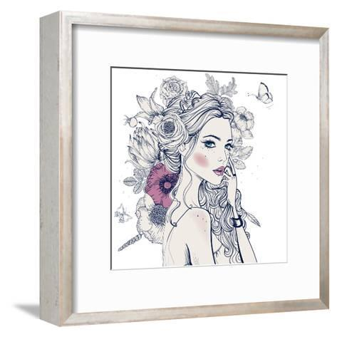 Portrait of Young Beautiful Woman with Flowers-Elena Barenbaum-Framed Art Print