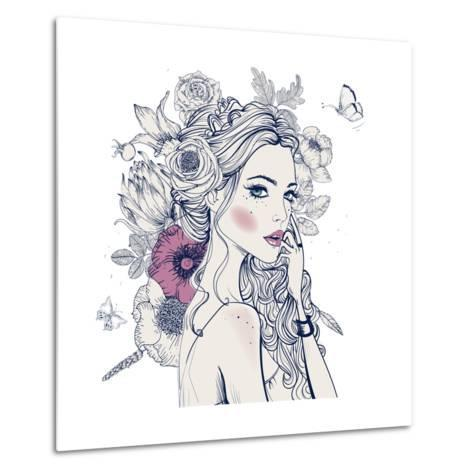 Portrait of Young Beautiful Woman with Flowers-Elena Barenbaum-Metal Print