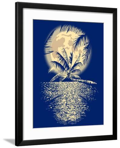 Reflected in the Ocean Full Moon on Vagator, Goa, India on a Dark Blue Background with Silhouettes-yulianas-Framed Art Print