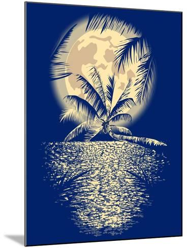 Reflected in the Ocean Full Moon on Vagator, Goa, India on a Dark Blue Background with Silhouettes-yulianas-Mounted Art Print